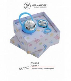 Conjunto Infantil Oso Celeste de Plata de Ley Bilaminada 925 mls    Ref: F3031-A