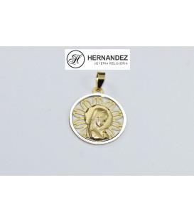 Medalla Comunion V. Niña Bicolor Calada Oro de Ley 18 kts     Ref:19-7233-18