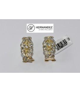 Más sobre Pendientes Flor Bicolor con Circonitas de oro de ley de 18 kts PE-3145-P