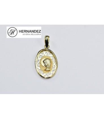 Medalla Comunion V.Niña Ovalada Calada Oro de Ley 18 kts Ref: M2443220