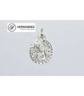 Medalla V.Niña Ovalado Labrado Plata de Ley 925 mls Ref: ME-818