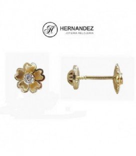 Pendiente de Bebe Flor 6,0 mm Circonita de Oro de Ley 18 Kts Ref: PE-5063