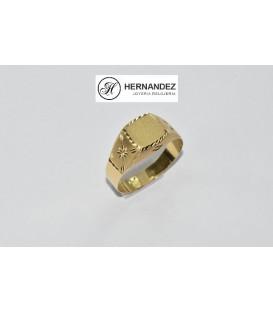 Sello de Caballero Cuadrado Lapidado Oro de Ley de 18 Kts Ref: SPE-5600