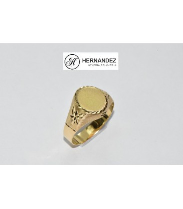 Sello de Caballero Oval Lapidado Oro de Ley de 18 Kts Ref: SPE-5600-2-45