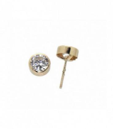 Pendientes chaton 6 mm oro de ley 18 kts Ref: 10-6-P