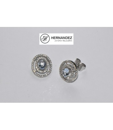 Pendiente Circonita y Piedra Semipreciosa de Agua Marina Plata de Ley Rodiada 925 mls XL84570