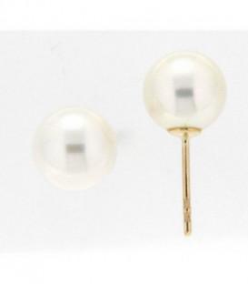 Pendiente de Bebe con Perla Natural Oro de Ley 18 kts Ref: 27-1436-P
