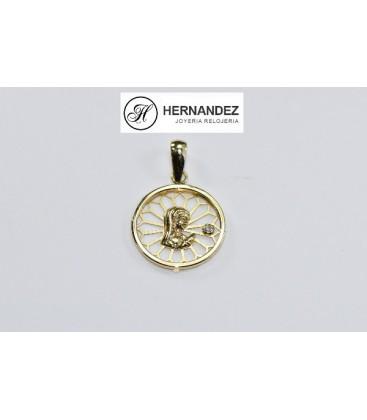Medalla Comunion V.Niña Calada Circonita Oro de Ley 18 kts Ref: 20704