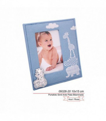 Portafoto Infantil con Oso de Plata de Ley Bilaminada 925 mls Ref: 09326/20R