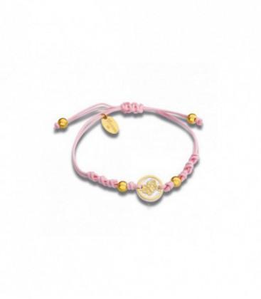 Pulsera T Adoro Nacar con Seda Rosa Mariposa Dorada Ref: 040-PUP-03-D
