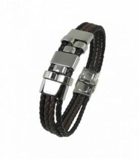 Pulsera de Acero y Cuero negro y Marron Ref: C3030396