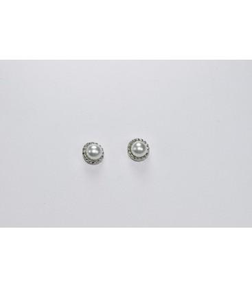 Pendientes de Bebe Perlas con filo tallado de Plata de Ley Rodiado 925 mls