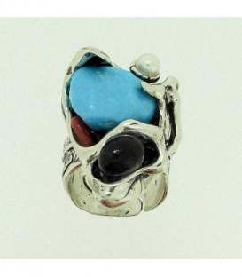 Sortija Piedras Naturales Plata de Ley 925 mls Ref: SO-A1680