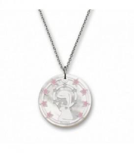 Medalla Virgen Niña T Adoro Plata de Ley Rodiado 925 mls Ref : CO-04A.CO.ES