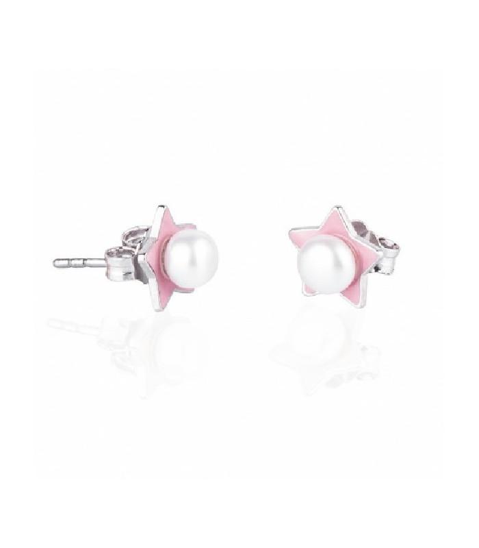31849269fe98 Pendientes Estrellas Perla Natural esmaltado en Rosa de Plata de Ley Rodio  925mls