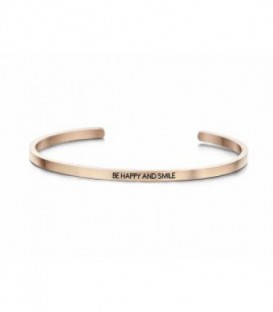 Pulsera Personalizada Be Happy And Smile- de Acero Inoxidable Ref: 8KM-B00150