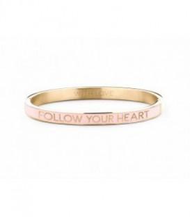 Pulsera Personalizada Follow Your Heart de Acero Dorado Esmaltado