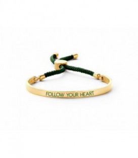 Pulsera Personalizado Follow Your Heart de Acero Inoxidable Dorado