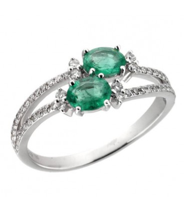 Sortija Esmeralda Naturales Y Diamantes Naturales Oro Blanco de 18 kts