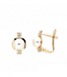 Más sobre Pendientes Comunion con Perlas Naturales y Circonitas de 5 mm. Oro de Ley 18 kts