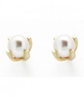 Pendientes de Bebe 6mm Perlas Cultivadas Oro de Ley 18 kts Ref : PE-18216PA4
